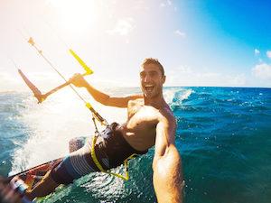 Action Kamera, Extremsport, Kitesurfing, Freizeitsport, Surfing, Sonne, Wasser